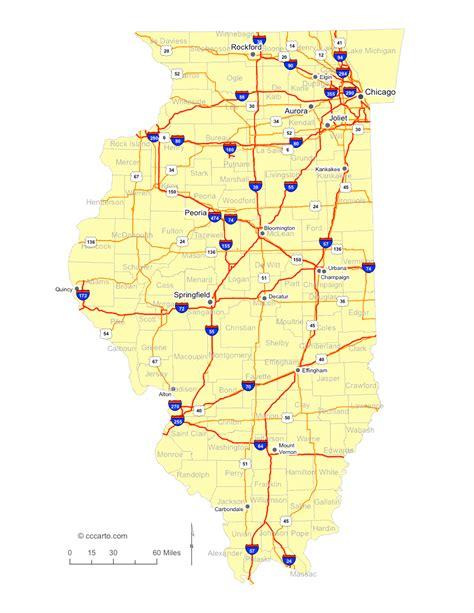 illinois map road cities highways roads highway interstate interstates cccarto