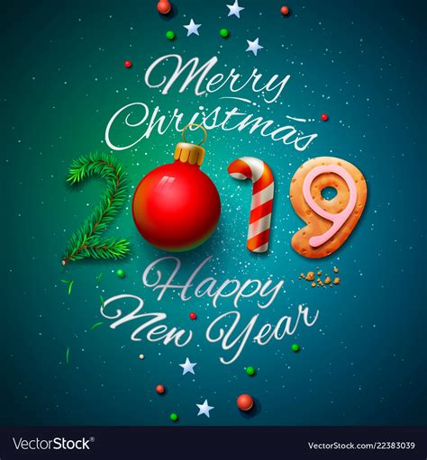 australian design businesses christmas 2018 merry and happy new year 2019 greeting vector image