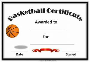 Free basketball certificate templates for Basketball certificate ideas