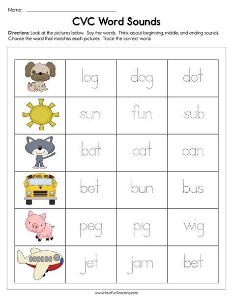 cvc word sounds worksheet    images cvc