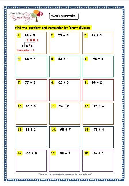 grade 3 maths worksheets division 6 7 short division with remainder lets share knowledge
