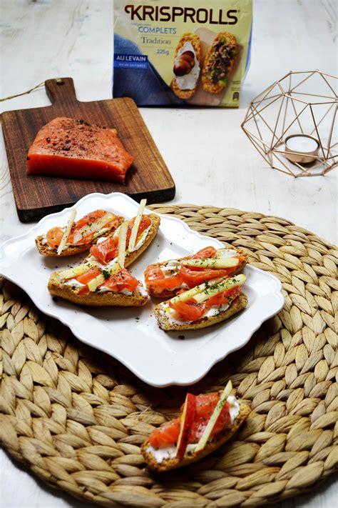 tartines de krisprolls au saumon
