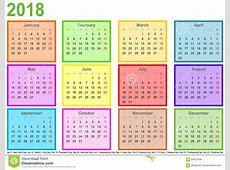 Haga Calendarios 2018 Cada Meses De Diferente Coloreó Los