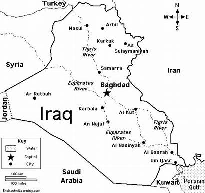 Iraq Coloring Map Gulf Persian Asia Middle