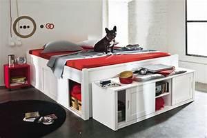 Lit 120x190 Avec Tiroir : lits avec rangements pratiques c t maison ~ Teatrodelosmanantiales.com Idées de Décoration