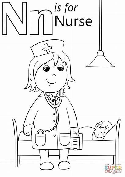 Nurse Coloring Letter Pages Printable Preschool Sheets