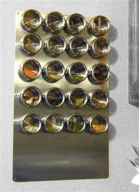 stainless wall plate  magnetic spice tins riversedge