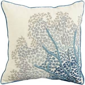 coastal embroidered sea fan pillow pier 1 imports