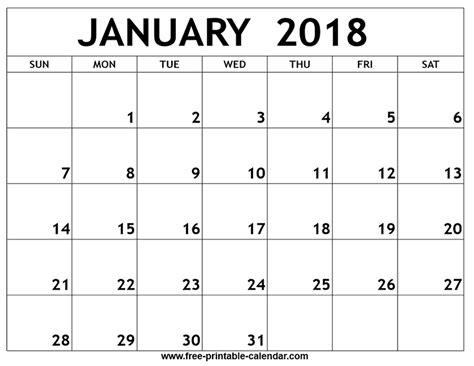 Blank Calendar Template January 2018 Printable Calendar Blank Templates Get