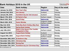 July 2017 Bank Holiday calendar printable free