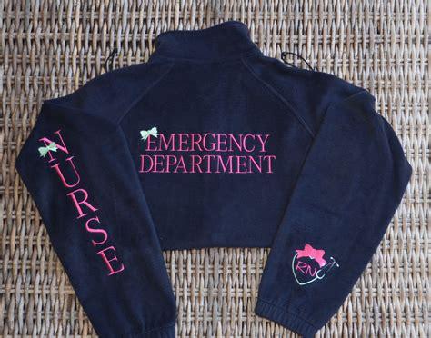 fleece jacket nurse emergency department front sleeve cuff  left chestmonogram