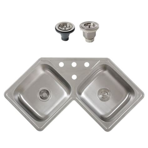 corner stainless steel kitchen sink ticor s999 corner overmount 18 stainless steel 8368