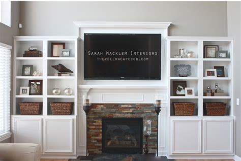 diy fireplace update with built in shelves on each the yellow cape cod fireplace makeover