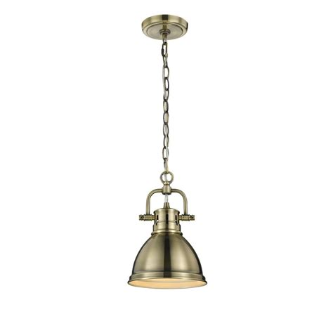 chinese l shades home lighting golden lighting duncan ab 1 light aged brass pendant with