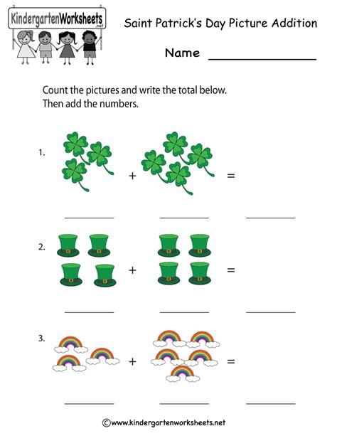printable st patricks day addition worksheet