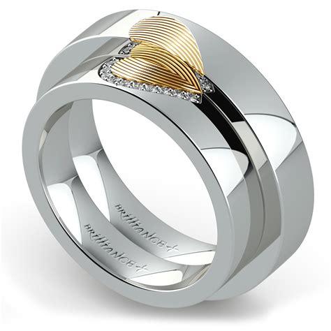 heart fingerprint inlay matching wedding ring set in white
