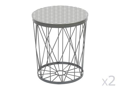mixeur de cuisine lot de 2 tables d 39 appoint rondes en métal filaire graphic