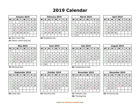 Printable Yearly Calendar 2019 | Free-calendar-template.com