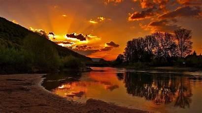 Sunset Definition Wallpapers River Bank Widescreen