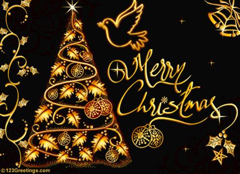 Golden Christmas Greetings! Free Merry Christmas Wishes