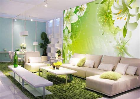 green floral  wallpaper  living room
