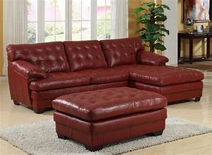 homelegance 9817 all leather sectional sofa set red With red and brown sectional sofa