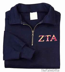 sorority letters sweatshirt embroidered quarter zip With quarter zip greek letters