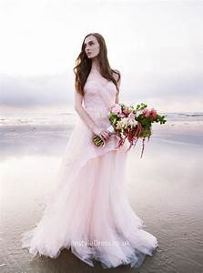 strapless blush floor length lace and tulle beach wedding With blush beach wedding dress
