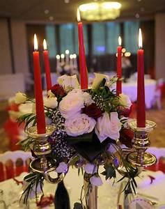 Chandelier De Table : d coration centre de table florale avec chandelier en argent th me rouge et blanc d coration ~ Melissatoandfro.com Idées de Décoration