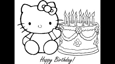 kitty birthday coloring pages youtube