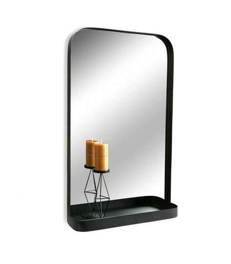 Miroir Mural Noir Avec Étagère  ↕ 76cm ↔ 46cm