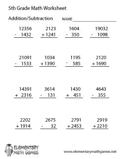 5th grade math worksheet addition and subtraction fifth graders will study percentages add fractions
