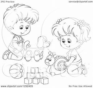 Children Playing Clipart Black And White – 101 Clip Art