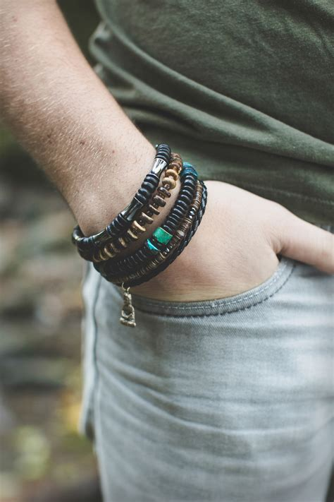 mens surfer bracelet with fair trade earth and sea