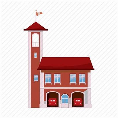 Fire Cartoon Station Icon Building Door Tower