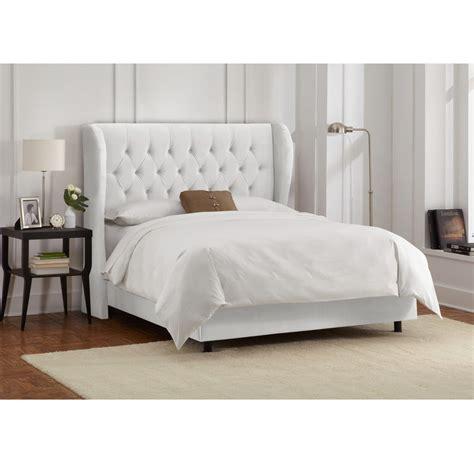 skyline furniture tufted wingback bed in velvet white ebay