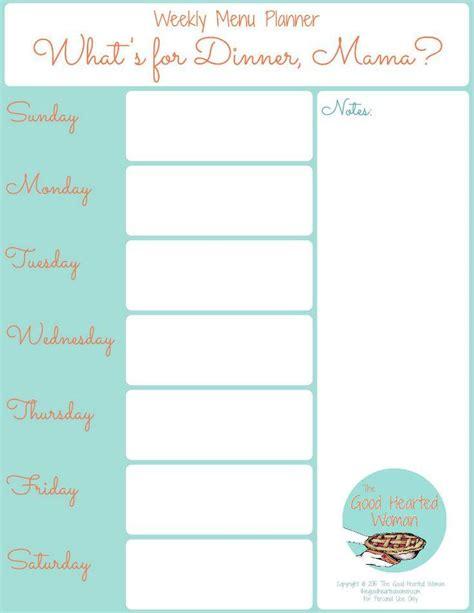 printable weekly menu planner  good hearted woman