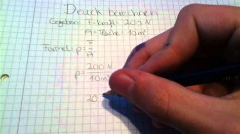 druck berechnen lernen physik anleitung youtube