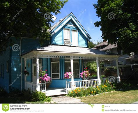 House Style : Blue Victorian Style House Stock Photo. Image Of Trees