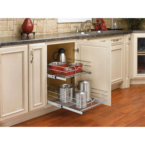 wire storage baskets for kitchen cabinets rev a shelf 19 in h x 17 75 in w x 22 in d base cabinet