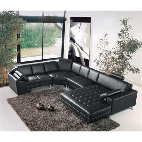 grand canap d angle cuir grand canapé d 39 angle panoramique en cuir noir king achat