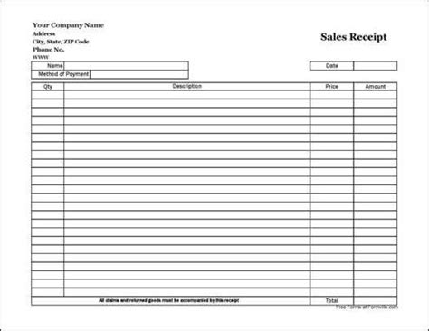 free easy copy simple sales receipt wide from formville