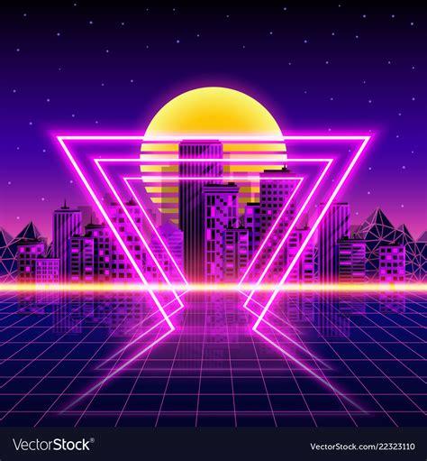80s Neon City Wallpaper by Retro Neon City Background Neon Style 80s Vector Image