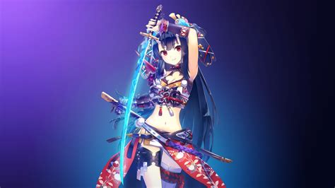 wallpaper warrior girl katana girl  anime