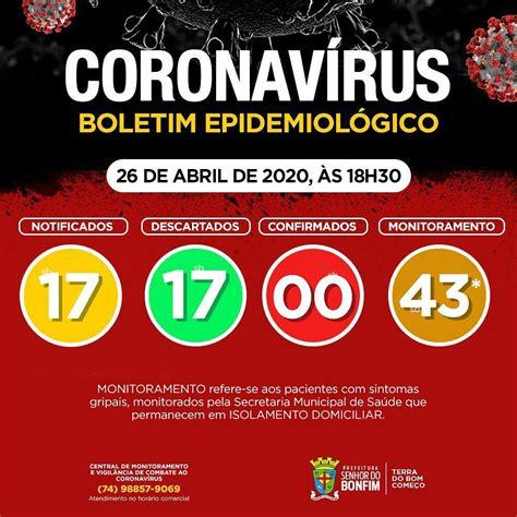 PREFEITURA DE BONFIM DIVULGA NOVO BOLETIM EPIDEMIOLÓGICO