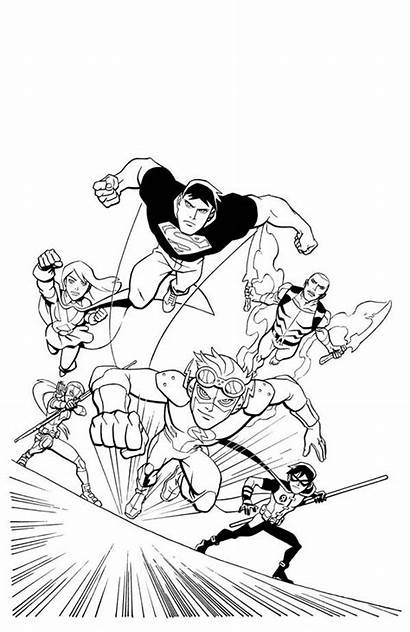 Justice Coloring League Young Action Pages Dc