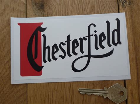 "Chesterfield Red, Black, & White Oblong Sticker. 6""."