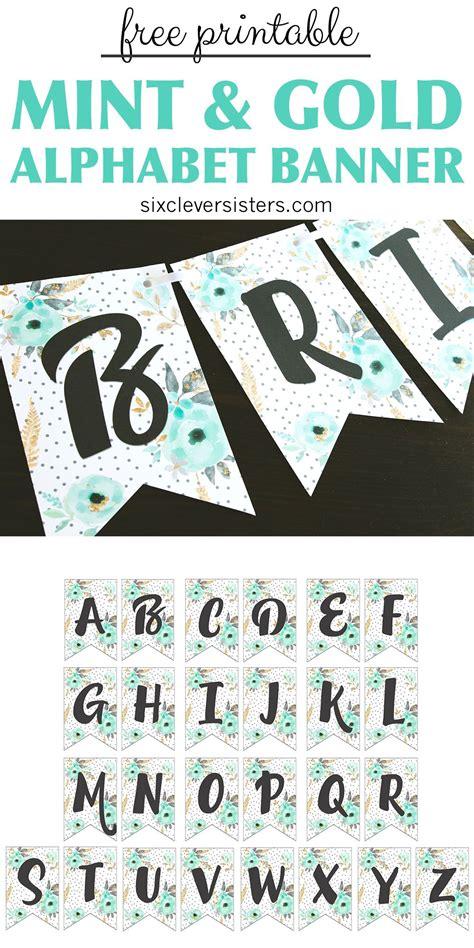 printable alphabet banner mint gold