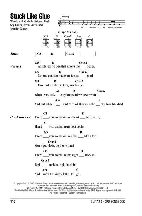 stuck  glue sheet   sugarland lyrics chords