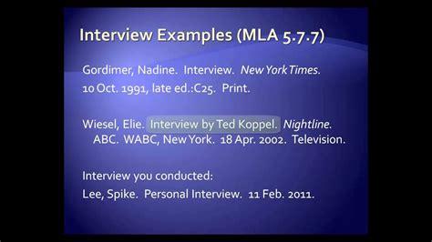 mla style interviews youtube